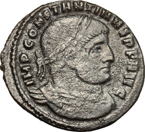 D/ Constantine I (307-337). AE follis, Rome mint, 312-313.  D/ Bust of Constantine right, laureate, draped, cuirassed. R/ Legionary eagle between two vexilla. RIC VI 349a. AE. g. 4.06  mm. 24.00    About VF.