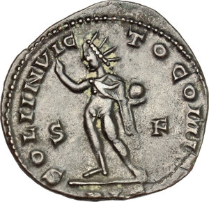 R/ Constantine I (307-337). AE follis, London mint, 313-314.  D/ Bust of Constantine right, laureate, draped, cuirassed. R/ Sol standing left, wearing  chlamys on left shoulder, raising right hand and holding in left globe. RIC 9. AE. g. 3.89  mm. 22.00    VF.