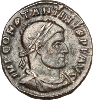 D/ Constantine I (307-337). AE follis, Arelate mint, 316 AD.  D/ Bust of Constantine right, laureate, draped, cuirassed. R/ Sol standing left, wearing chlamys on left shoulder, raising right hand and holding in left globe. RIC 81. AE. g. 3.89  mm. 20.00    About VF.