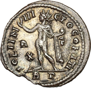 R/ Licinius I (308-324). AE follis, Rome mint, 314-315.  D/ Bust of Licinius right, laureate, cuirassed. R/ Sol standing left, wearing chlamys on left shoulder; right hand raised and in left holding globe. RIC 30. AE. g. 3.48  mm. 21.50    Good VF.