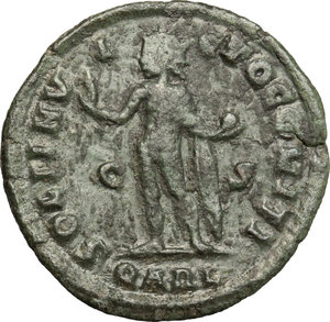 R/ Licinius I (308-324). AE follis, Arelate mint, 317-318.  D/ Bust of Licinius right, laureate, draped, cuirassed. R/ Sol standing left with chlamys over left shoulder; raising right hand and holding in left globe. RIC 154. AE. g. 2.64  mm. 21.00   Dark patina. About VF/F.