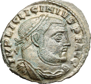 D/ Licinius I (308-324). AE follis, Thessalonica mint, 312-313.  D/ Bust of Licinius right, laureate, draped, cuirassed. R/ Jupiter standing left with chlamys hanging from left shoulder; holding Victoria on globe and leaning on sceptre; to feet left, eagle holding wreath. RIC VI  60. AE. g. 3.49  mm. 25.00    Good VF.