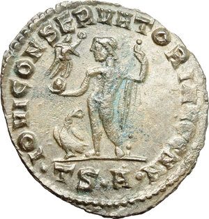 R/ Licinius I (308-324). AE follis, Thessalonica mint, 312-313.  D/ Bust of Licinius right, laureate, draped, cuirassed. R/ Jupiter standing left with chlamys hanging from left shoulder; holding Victoria on globe and leaning on sceptre; to feet left, eagle holding wreath. RIC VI  60. AE. g. 3.49  mm. 25.00    Good VF.