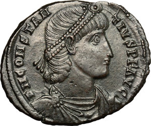 D/ Constantius II (337-361). AE 25mm, Antioch mint, 350-355 AD.  D/ Bust of Constantine right, diademed, draped, cuirassed. R/ Soldier standing left, holding shield and spearing falling horseman; to right, shield on ground. RIC 132. AE. g. 4.96  mm. 25.00   From masterly engraved dies. About VF.