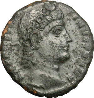 D/ Constantine II (337-340). AE 14mm, Nicomedia mint, 337-340.  D/ Head of Constantine right, diademed. R/ Two soldiers standing facing each other; holding spear and resting on shield, between, standard. RIC 6. AE. g. 1.59  mm. 14.00   Dark patina. About VF/F.