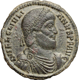 D/ Julian II (360-363). AE 29mm, Thessalonica mint, 361-363.  D/ Bust of Julian right, diademed, draped, cuirassed. R/ Bull standing right; above, two stars. RIC 225. AE. g. 9.10  mm. 29.00    About EF.