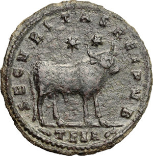 R/ Julian II (360-363). AE 29mm, Thessalonica mint, 361-363.  D/ Bust of Julian right, diademed, draped, cuirassed. R/ Bull standing right; above, two stars. RIC 225. AE. g. 9.10  mm. 29.00    About EF.