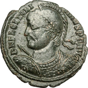 D/ Julian II (360-363). AE 21mm, Thessalonica mint, 361-363.  D/ Bust of Julian left, helmeted, diademed, cuirassed; holding spear and shield. R/ VOT/X/MULT XX within wreath. RIC 227. C. 151. AE. g. 2.98  mm. 21.00    VF.