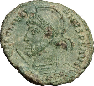 D/ Julian II (360-363). AE 20mm, 361-363.  D/ Bust of Julian left, helmeted, diademed, cuirassed; holding spear and shield. R/ VOT / X / MVLT / XX within wreath. RIC 329. AE. g. 2.99  mm. 20.00   Green patina. About VF/F.