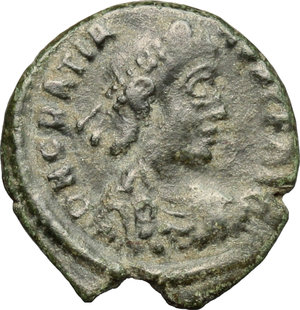 D/ Gratian (367-383). AE 15mm, Siscia mint, 378-383.  D/ Bust of Gratian right, diademed, draped, cuirassed. R/ VOT/XV/MVLT/XX within wreath. RIC 31A. AE. g. 1.70  mm. 15.00   Green patina. About VF.