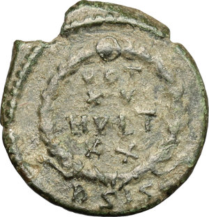 R/ Gratian (367-383). AE 15mm, Siscia mint, 378-383.  D/ Bust of Gratian right, diademed, draped, cuirassed. R/ VOT/XV/MVLT/XX within wreath. RIC 31A. AE. g. 1.70  mm. 15.00   Green patina. About VF.