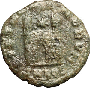 R/ Magnus Maximus (383-388). AE 13mm, Aquileia mint, 387-388.  D/ Bust of Magnus Maximus right, diademed, draped, cuirassed. R/ Camp-gate with two turrets, between the turrets, star. RIC 55A. AE. g. 1.10  mm. 13.00    About VF.