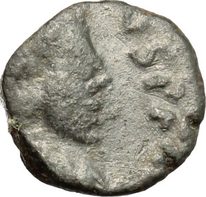 D/ Eugenius (392-394). AE 9mm, Arelate or Lugdunum mint, 392-394.  D/ Bust of Eugenius right, pearl-daidemed, draped, cuirassed. R/ Victoria advancing left: holding wreath and palm. RIC 30F (Arelate) or RIC 47A (Lugdunum). AE. g. 1.02  mm. 9.00    F.