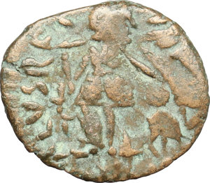 R/ Johannes (423-425). AE 13mm, Rome mint, 423-425.  D/ Bust of Johannes right, pearl-diademed, draped, cuirassed. R/ Victoria advancing left: holding trophy over right shoulder and dragging captive with left hand: to left, Christogram. cf. RIC 1913 or 1916 or 1917 or 1920 or 1921 or 1923. AE. g. 0.98  mm. 13.00    F.