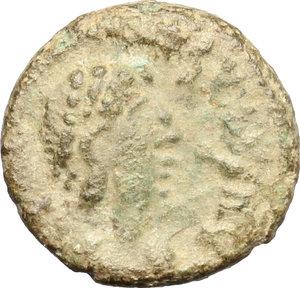 D/ Majorian (457-461) (?). AE 13mm, Ravenna or Mediolanum mint, 457-461.  D/ Bust of Majorian right, pearl-diademed, draped, cuirassed. R/ Victoria advancing left; holding wreath and palm. RIC 2615-2618 (Ravenna) or RIC 2641-2648 (Mediolanum). AE. g. 1.65  mm. 13.00    F.