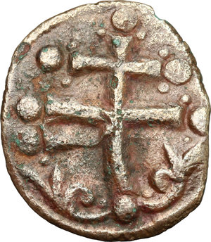 R/ Michael VII Ducas (1071-1078). AE Follis, Constantinople mint, 1071-1078.  D/ Bust of Christ Pantokrator facing, cross-nimbate; holding book of Gospels. R/ Patriarchal cross with pellets and floral ornaments. Sear 1880. AE. g. 4.21  mm. 24.00   Traces of double strucking Good F.