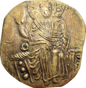 D/ John III Ducas (1222-1254). AV (debased) Hyperpyron scyphate Empire of Nicaea, Magnesia mint, 1222-1254.  D/ Christ Pantokrator enthroned facing, cross-nimbate; right hand raised to benediction and left hand holding book of Gospels. R/ John III standing facing; being crowned and blessed by the Virgin Mary, standing left. DOC 5. Sear 2073. AV. g. 2.75  mm. 25.00   Toned. About VF.