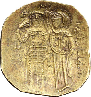 R/ John III Ducas (1222-1254). AV (debased) Hyperpyron scyphate Empire of Nicaea, Magnesia mint, 1222-1254.  D/ Christ Pantokrator enthroned facing, cross-nimbate; right hand raised to benediction and left hand holding book of Gospels. R/ John III standing facing; being crowned and blessed by the Virgin Mary, standing left. DOC 5. Sear 2073. AV. g. 2.75  mm. 25.00   Toned. About VF.
