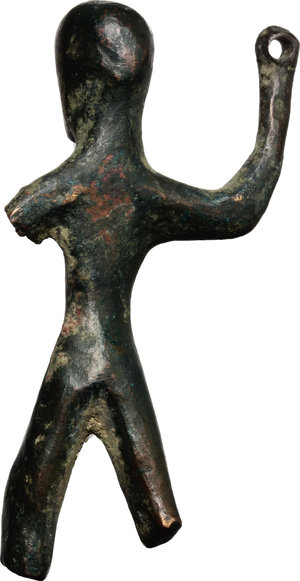 Bronze votive figurine.  Central Italy, 6th-5th century BC.  44 x 22 mm