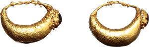 D/  Pair of gold earrings. Gold sheet with red translucent stones.  Roman period, I-II century AD. 0.76 + 0.75 g. 16 mm.