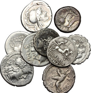 Roman Republic. Lot of 9 AR, including: a Victoriatus, Cr. 207/1, Cr. 243/1, Cr. 345/1, Cr. 384/1, Cr. 474/1
