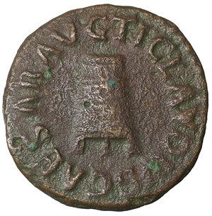 obverse: Claudius. 41-54 AD. Æ Quadrans. 16 mm - 2,87 gr. Struck 41 AD. O:\ TI CLAVDIVS CAESAR AVG, three-legged modius. R:\ PON M TR P IMP COS DES IT around large S·C. RIC I 84; BMCRE 179; Cohen 70. XF