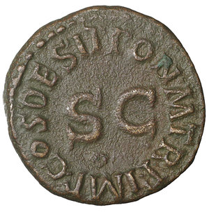reverse: Claudius. 41-54 AD. Æ Quadrans. 16 mm - 2,87 gr. Struck 41 AD. O:\ TI CLAVDIVS CAESAR AVG, three-legged modius. R:\ PON M TR P IMP COS DES IT around large S·C. RIC I 84; BMCRE 179; Cohen 70. XF