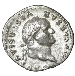 obverse: Vespasian. AD 69-79. Rome. Denarius. 18 mm - 3,10 gr. Struck 75 AD. O:\ IMP CAESAR VESPASIANVS AVG, laureate head right. R:\ PON MAX TR P COS VI, Pax seated left holding branch. RSC 366. XF