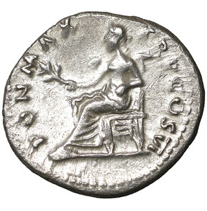 reverse: Vespasian. AD 69-79. Rome. Denarius. 18 mm - 3,10 gr. Struck 75 AD. O:\ IMP CAESAR VESPASIANVS AVG, laureate head right. R:\ PON MAX TR P COS VI, Pax seated left holding branch. RSC 366. XF