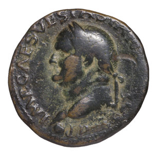 obverse: Vespasian. 69-79 AD. AE As. O:\ IMP CAESAR VESP AVG COS VII; head to left. R:\ AEQVITAS AVGVST; Aequitas standing left; S-C. 11,05 gr.-25,85 mm. RIC 557. VF