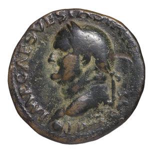 obverse: Vespasian. 69-79 AD. AE As. O:\ IMP CAESAR VESP AVG COS VII; head to left. R:\ AEQVITAS AVGVST; Aequitas standing left; S-C. 11,05 gr.-25,85 mm. RIC 557. VF