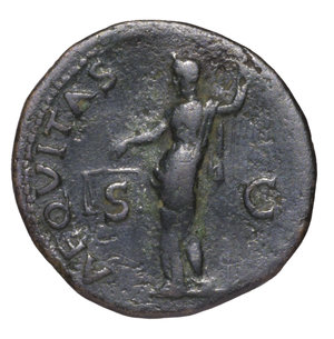 reverse: Vespasian. 69-79 AD. AE As. O:\ IMP CAESAR VESP AVG COS VII; head to left. R:\ AEQVITAS AVGVST; Aequitas standing left; S-C. 11,05 gr.-25,85 mm. RIC 557. VF