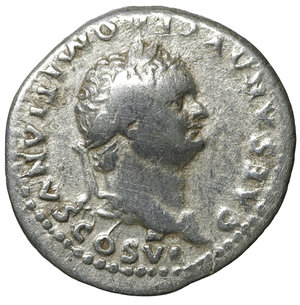obverse: Domitian, as caesar (Vespasian, 69-79), Denarius, Rome, AD 79; AR. 3.10 gr. – 19.2 mm. O:\ CAESAR AVG F DOMITIANVS COS VI, laureate head r., R:\ PRINCEPS - IVVENTVTIS, clasped hands over aquila on prow . RIC I 246 = II 1081; C 393. aXF