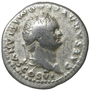 obverse: Domitian, as caesar (Vespasian, 69-79), Denarius, Rome, AD 79; AR. 3.10 gr. – 19.2 mm. O:\ CAESAR AVG F DOMITIANVS COS VI, laureate head r., R:\ PRINCEPS - IVVENTVTIS, clasped hands over aquila on prow . RIC I 246 = II 1081; C 393. aXF