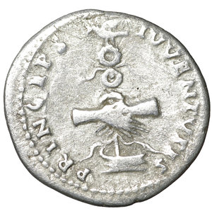 reverse: Domitian, as caesar (Vespasian, 69-79), Denarius, Rome, AD 79; AR. 3.10 gr. – 19.2 mm. O:\ CAESAR AVG F DOMITIANVS COS VI, laureate head r., R:\ PRINCEPS - IVVENTVTIS, clasped hands over aquila on prow . RIC I 246 = II 1081; C 393. aXF
