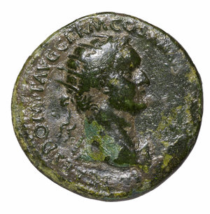obverse: Domitian. 81-96 AD. AE Dupondius. O:\ Radiate head to right. R:\ FORTVNA AVGVSTI SC; fortune standing left. 12,16 gr.-28,26 mm. RIC 417. VF