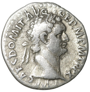 obverse: Domitian (81-96). Denarius. Rome. 3.30 gr. – 18.2 mm. O:\ IMP CAES DOMIT AVG GERM P M TR P X. Laureate head right. R:\ IMP XXI COS XV CENS P P P. Minerva standing left with spear. RIC 722. VF+