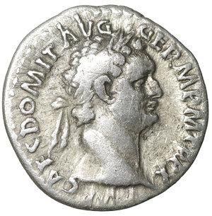 obverse: Domitian (81-96). Denarius. Rome. 3.30 gr. – 18.2 mm. O:\ IMP CAES DOMIT AVG GERM P M TR P X. Laureate head right. R:\ IMP XXI COS XV CENS P P P. Minerva standing left with spear. RIC 722. VF+