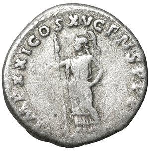 reverse: Domitian (81-96). Denarius. Rome. 3.30 gr. – 18.2 mm. O:\ IMP CAES DOMIT AVG GERM P M TR P X. Laureate head right. R:\ IMP XXI COS XV CENS P P P. Minerva standing left with spear. RIC 722. VF+