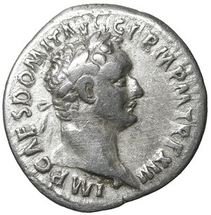 obverse: Domitian (81-96). Denarius. Rome. 3.15 gr. – 19.3 mm. O:\ IMP CAES DOMIT AVG GERM P M TR P XII. Laureate head right. R:\ IMP XXII COS XVI CENS P P P. Minerva standing left, holding thunderbolt and spear; shield at her right side. RIC² 741. XF