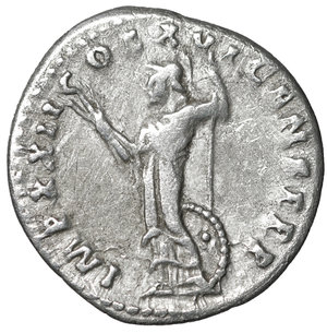 reverse: Domitian (81-96). Denarius. Rome. 3.15 gr. – 19.3 mm. O:\ IMP CAES DOMIT AVG GERM P M TR P XII. Laureate head right. R:\ IMP XXII COS XVI CENS P P P. Minerva standing left, holding thunderbolt and spear; shield at her right side. RIC² 741. XF