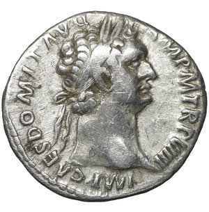 obverse: Domitian (81-96). Denarius. Rome. 3.20 gr. – 19.3 mm. O:\ IMP CAES DOMIT AVG GERM P M TR P VIIII. Laureate head right. R:\ IMP XXI COS XIIII CENS P P P. Minerva standing right on capital of rostral column with spear and shield. RIC 685.  aXF