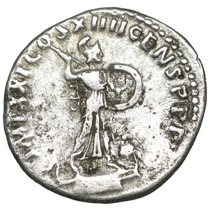 reverse: Domitian (81-96). Denarius. Rome. 3.20 gr. – 19.3 mm. O:\ IMP CAES DOMIT AVG GERM P M TR P VIIII. Laureate head right. R:\ IMP XXI COS XIIII CENS P P P. Minerva standing right on capital of rostral column with spear and shield. RIC 685.  aXF