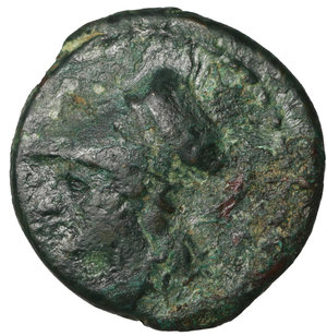 obverse: Bruttium. The Brettii. 215-205 BC. Bronze. AE 14,6 mm -  2.15 gr. O:\ Helmeted head of Athena left. R:\ BΡETTIΩN, owl standing half-right, head facing. Scheu 35; SNG ANS 69; HN Italy 1985. Scarce. VF\XF