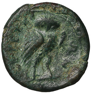 reverse: Bruttium. The Brettii. 215-205 BC. Bronze. AE 14,6 mm -  2.15 gr. O:\ Helmeted head of Athena left. R:\ BΡETTIΩN, owl standing half-right, head facing. Scheu 35; SNG ANS 69; HN Italy 1985. Scarce. VF\XF