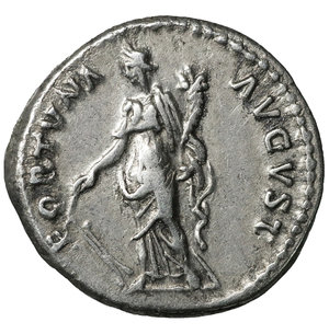 reverse: Nerva. Jan - Sept, 97 AD. Denarius. 3.45 gr. - 17.3 mm. O:\ IMP NERVA CAES AVG PM TR P COS III P P, laureate head right. R:\ FORTVNA AVGVST - Fortuna standing left, holding rudder and cornucopia. RIC 16, RSC 66. XF