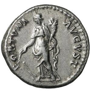 reverse: Nerva. Jan - Sept, 97 AD. Denarius. 3.45 gr. - 17.3 mm. O:\ IMP NERVA CAES AVG PM TR P COS III P P, laureate head right. R:\ FORTVNA AVGVST - Fortuna standing left, holding rudder and cornucopia. RIC 16, RSC 66. XF