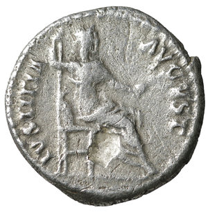 reverse: Nerva. 96-97 AD. AR denarius. 2.95 gr. – 17.9 mm. O:\ IMP NERVA CAES AVG P M TR P COS III P P; Laureate head right. R:\ IVSTITIA AVGVST Justitia seated left. VF+