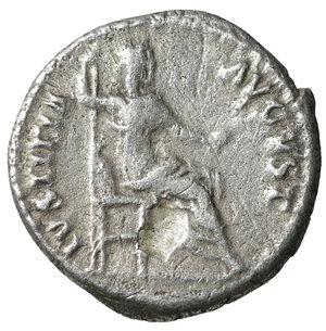 reverse: Nerva. 96-97 AD. AR denarius. 2.95 gr. – 17.9 mm. O:\ IMP NERVA CAES AVG P M TR P COS III P P; Laureate head right. R:\ IVSTITIA AVGVST Justitia seated left. VF+