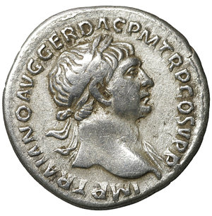 obverse: Trajan. 98-117 AD. Denarius. 103-104 AD. 3.40 gr. – 18.3 mm. O:\ IMP TRAIANO AVG GER DAC PM TRP COS V P P, laureate bust right, slight drapery on far shoulder. R:\ SPQR OPTIMO PRINCIPI, Aequitas standing left, holding scales and cornucopiae. RSC 462. UNC